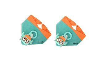 2PK Malarkey Buddy Waterproof Bib Baby Plush Toy/Teether Holder Aqua Ollie Owl