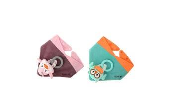 2pc Malarkey Buddy Waterproof Bib Baby Plush Toy Holder Aqua Owl/Pinky Penguin
