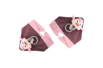 2PK Malarkey Buddy Waterproof Bib Baby Plush Toy/Teether Holder Pinky Penguin