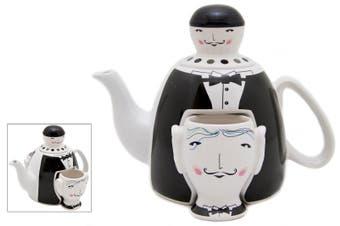 Waiter Design Teapot Ceramic Kitchen Tea Pot w/ Two Cups/Mug 23cm Black/White