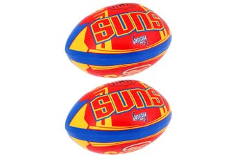 2x Summit AFL Gold Coast Suns 20cm Large/Soft Rugby Ball Play/Game/Toys Kids/Boy