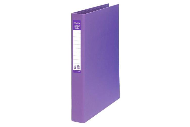 ColourHide A4 25mm 200 Sheets 2D Ring Binder Paper/File Organiser Holder Purple