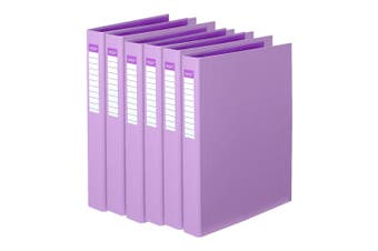 6x Colour Hide A4 Ring Folder/Binder/Personal Organiser/File PE 25mm 2D Purple