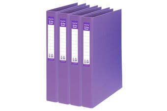 4PK ColourHide A4 25mm 200 Sheets 2D Ring Binder Paper/File Organiser Holder PP