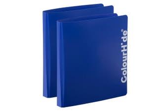 2PK ColourHide A4 D Ring Binder Paper/File Document Holder/Organiser Storage BL