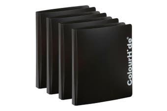 4PK ColourHide A4 D Ring Binder Paper/File Document Holder/Organiser Storage BLK