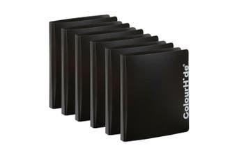 6PK ColourHide A4 D Ring Binder Paper/File Document Holder/Organiser Storage BLK