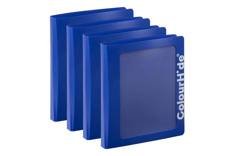 4x ColourHide A4 25mm Clearview Binder File/Paper Document Storage Organiser BL
