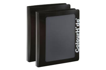 2x ColourHide A4 25mm Clearview Binder File/Paper Document Storage Organiser BLK