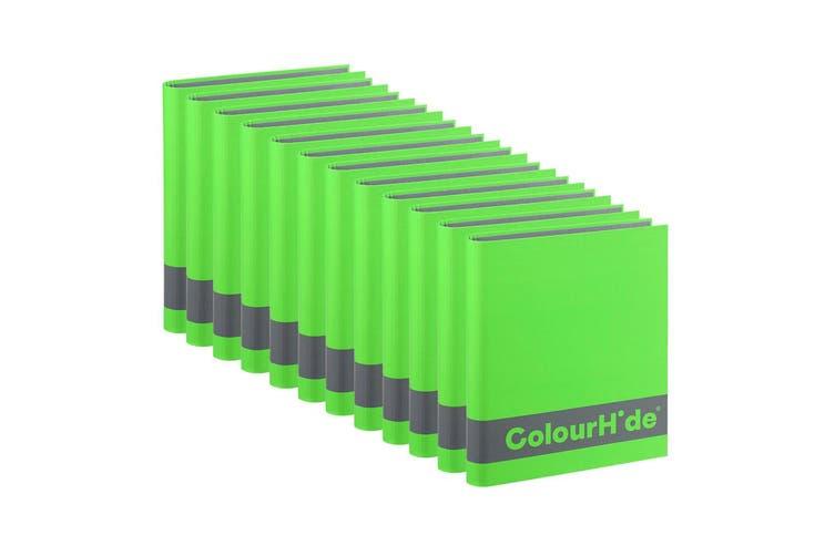 12PK ColourHide A4 200 Sheets Silky Touch Ring Binder/Folder Paper Organiser GRN