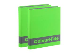 2PK ColourHide A4 200 Sheets Silky Touch Ring Binder/Folder Paper Organiser GRN