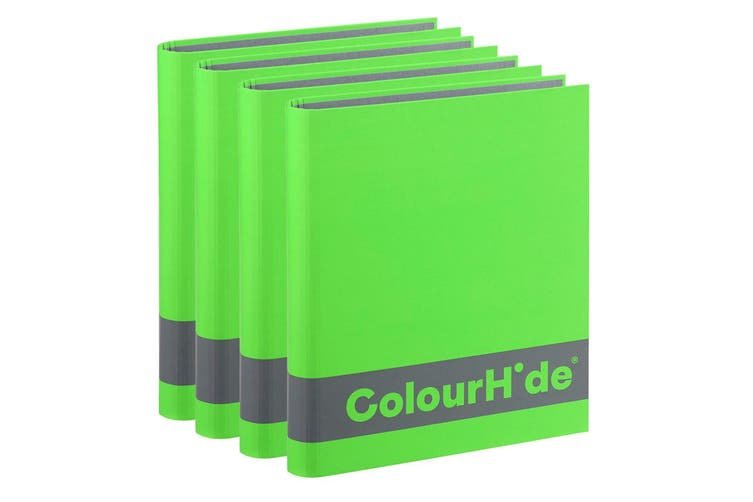 4PK ColourHide A4 200 Sheets Silky Touch Ring Binder/Folder Paper Organiser GRN
