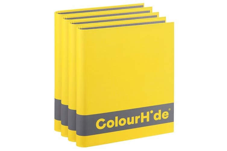 4x ColourHide A4 200 Sheets Silky Touch Ring Binder/Folder File Organiser Yellow