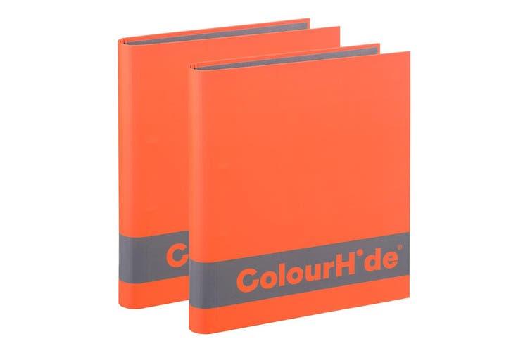 2x ColourHide A4 200 Sheets Silky Touch Ring Binder/Folder File Organiser Orange