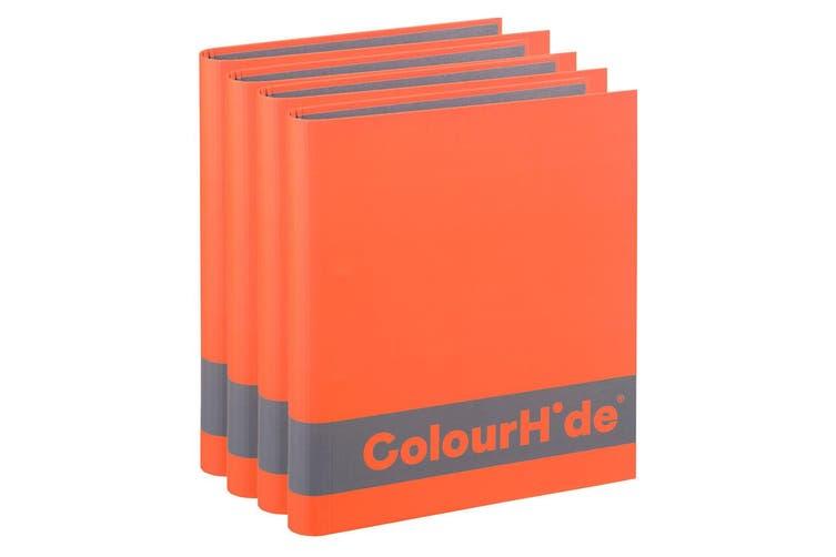 4x ColourHide A4 200 Sheets Silky Touch Ring Binder/Folder File Organiser Orange