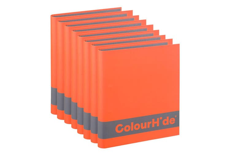 8x ColourHide A4 200 Sheets Silky Touch Ring Binder/Folder File Organiser Orange
