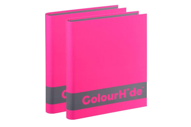 2PK ColourHide A4 200 Sheets Silky Touch Ring Binder/Folder Paper Organiser Pink