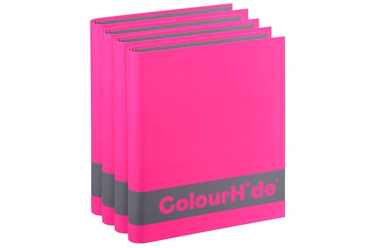 4PK ColourHide A4 200 Sheets Silky Touch Ring Binder/Folder Paper Organiser Pink