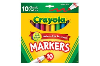 10PK Crayola Classic Broadline Markers Drawing Colouring Pen Kids 3y+ Art/Craft