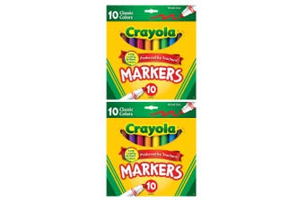 2x 10PK Crayola Classic Broadline Colouring Markers Drawing Kids 3y+ Art/Craft
