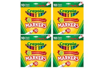 4x 10PK Crayola Classic Broadline Colouring Markers Drawing Kids 3y+ Art/Craft