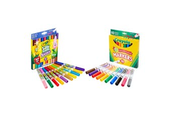 2x 10pc Crayola Classic Broadline w/10pc Silly Scents Dual-Ended Washable Marker