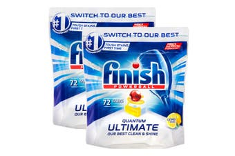 144PK Finish Powerball Quantum Ultimate Tablets for Dishwashing Cleaning Lemon