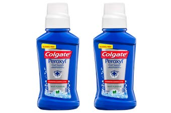 2x Colgate 236ml Alcohol Free Peroxyl Rinse Mouthwash/Mouth Wash Oral Care