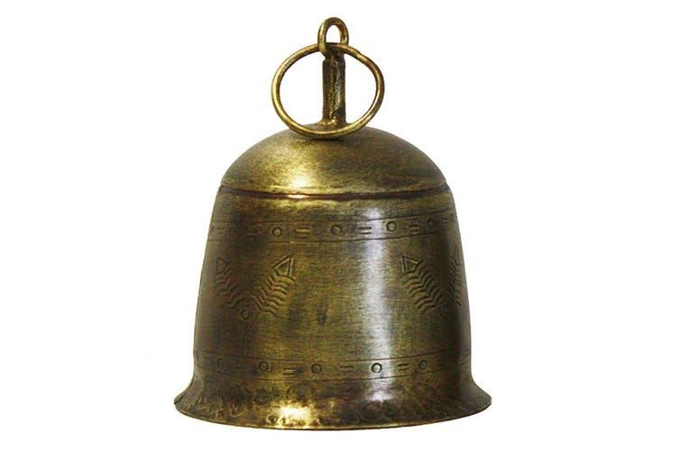 Antique Vintage Decorative Etched Bell Decoration 10x15cm Home Decor Large Gold