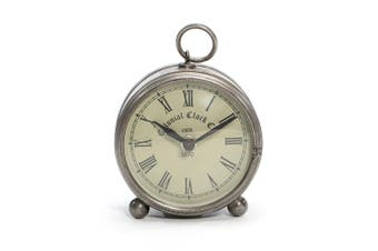 Round 12cm Iron/Glass Colonial Table/Desk Clock Home Room Decor Antique Silver