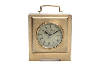 Square Iron/Glass 20cm Colonial Table/Desk Clock Home Room Decor Antique Gold