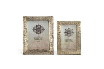 Hand-Pressed 21cm & 18cm Picture Photo Frame Set Antique Silver Home Decor