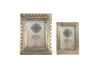 Hand-Pressed 24cm & 18cm Picture Photo Frame Set Antique Silver Home Decor