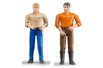Bruder Bworld Light Skin Man Blue & Brown Jeans Figurine Set Kids Toy 4y+
