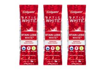 3PK Colgate Optic Stain Less White 85g Whitening Toothpaste w/hydrogen peroxide