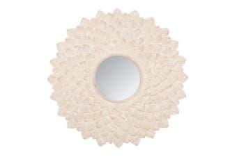 Hand Carved Wood Round Hanging 90cm Medallion Whitewash Mirror Home Decor XL