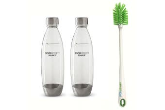 2PK SodaStream 1L Carbonating Bottle Metal  for Drink Maker w/Cleaning Brush