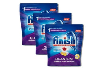 3x 45PK Finish Powerball Tab Lemon Sparkle Quantum Dishwasher/Dishwashing Tablet
