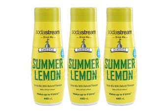 3x SodaStream Classic Summer Lemon Squash 440ml/Sparkling Soda Water Syrup Mix