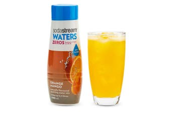 SodaStream Zeros Orange Mango 440ml/Sparkling Soda Water Syrup Mix - Low Sugar