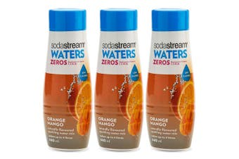 3x SodaStream Zeros Orange Mango 440ml/Sparkling Soda Water Syrup Mix/Low Sugar