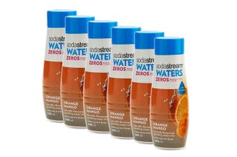 6x SodaStream Zeros Orange Mango 440ml/Sparkling Soda Water Syrup Mix/Low Sugar