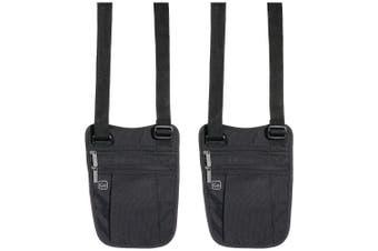 2x Go Travel Concealed Holster Lightweight Shoulder Bag/Pouch/Travel Wallet BK