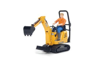 Bruder World JCB Micro Excavator Vehicle w/ Construction Worker Kids Toys 4y+