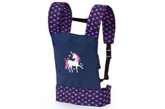 Bayer Carrier Kids Toy w/ Strap for 46cm Doll Unicorn Dark Blue/Pink Hearts 3y+