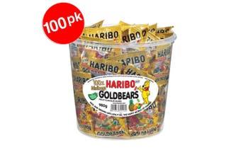 100PK Mini Bag Haribo Goldbears Mini Bags Bucket 980g Gummy Bears Candy Lolly