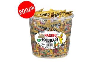 2x 100PK Mini Bag Haribo Goldbears Mini Bags Bucket 980g Gummy Bears Candy Lolly