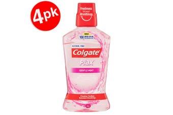 4x Colgate 500ml Plax Gentle Mint Mouthwash Alcohol Free Mouth Wash Oral Care