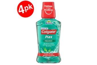 4x Colgate 250ml Plax Freshmint Mouthwash Alcohol Free Mouth Wash Oral Care