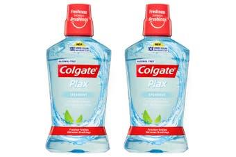 2x Colgate 500ml Plax Spearmint Mouthwash Alcohol Free Mouth Wash Oral Care